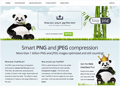 TinyPNGトップ画面
