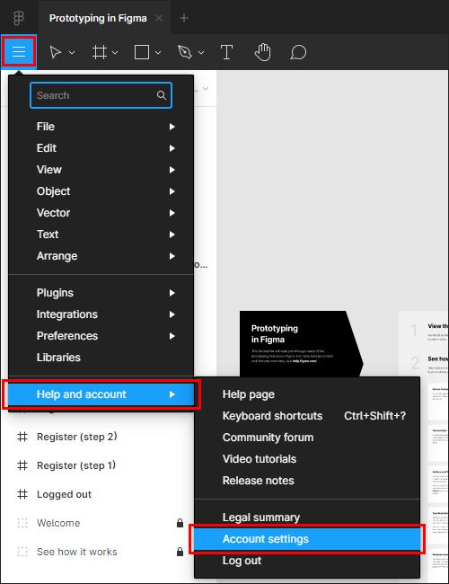 Figmaのメニューから、「Account settings」を選択して設定画面を開く